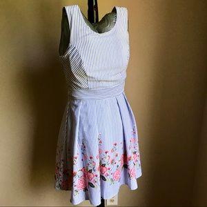 Trixxi Sz 7 pinstripe floral summer dress with bow